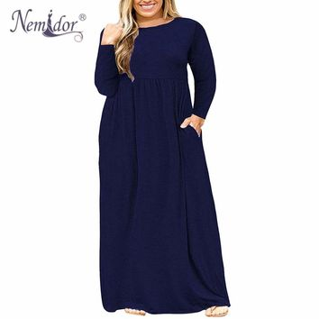Women O-neck Long Sleeve Plus Size Vintage Maxi Dress With Pockets  3XL- 9XL