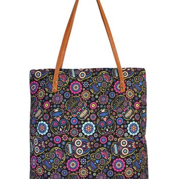 Black & Blue Sugar Skull Tote Bag