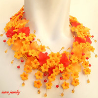 Fall jewelry - Flower necklace - Statement necklace - Fall leaves - Handmade polymer jewelry