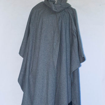 vintage Vidal Sassoon WOOL HOODED Maxi Cape Coat Jacket Duster Kimono Mushroom Gray 70s 80s