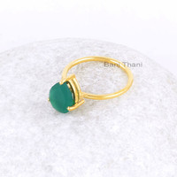 Green Onyx Ring-Green Onyx Pear 8x10mm Sterling Silver Ring-Gold Plated Ring-Handmade Ring for Women-Prong Ring-Mothers Day Gift