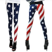 Renineic Women Patriot American Star Country Flag Legging Tight One Size