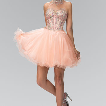 Elizabeth K High Neck Short Tulle Dress with Rolled Hem and Bead Embellished Bodice GS2029