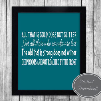 Quote printable art, Tolkien wall decor, 'All who wander are not lost' white and teal Lord of the Rings design 8x10