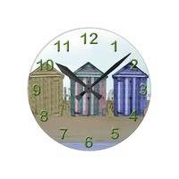 Beach Huts Art Gifts Round Clock
