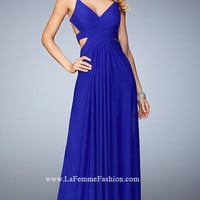 Long La Femme V-Neck Open Back Dress