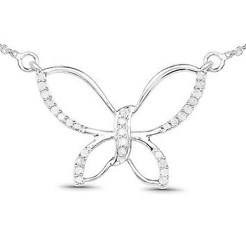 Natural Ethically Mined .28TCW Round Cut Diamond Butterfly Pendant Necklace