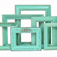 Shabby Chic Picture Frame Set Turquoise Aqua Nursery Wedding Home Decor Rustic Beach Cottage Picture Frame
