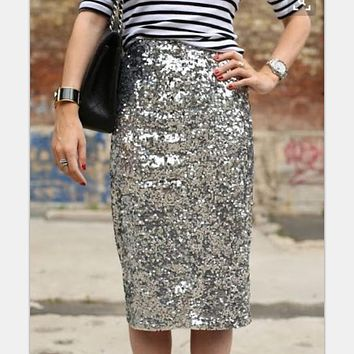 2018 Sexy club party wear High Waist bling bling Glitter Bodycon Skirts Womens office lady pencil Sequin Skirt