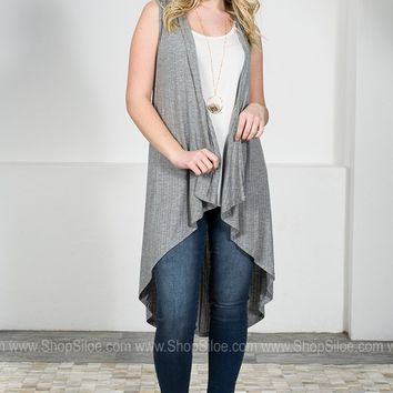 Stan Grey Sleeveless Cardigan