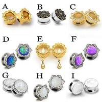 9-Style Stainless Steel Ear Plugs Chic Opal Flower Flesh Tunnel Fashion Stretch