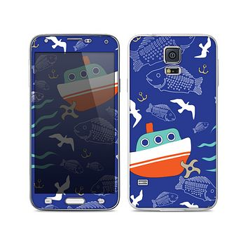 The Blue Vector Fish and Boat Pattern Skin For the Samsung Galaxy S5