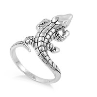 925 Sterling Silver Water Dance Crocodile Ring