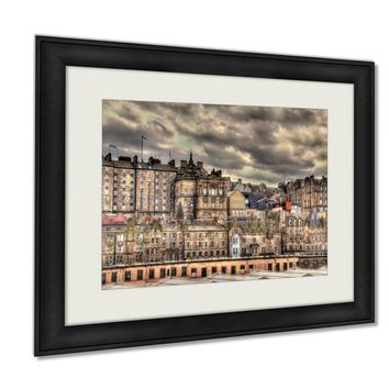 Framed Prints View Of The City Centre Of Edinburgh Scotland Wall Art Decor Giclee Photo Print In Black Wood Frame, Soft White Matte, Ready to hang 16x20 art