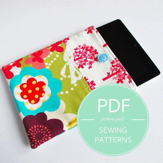 """iPad mini sleeve case sewing pattern - fits all generations iPads and kindle fire HD 8.9"""" - pdf email delivery"""