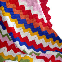 Vintage Chevron Afghan / Great Colorful Palette / Zig Zag Crocheted