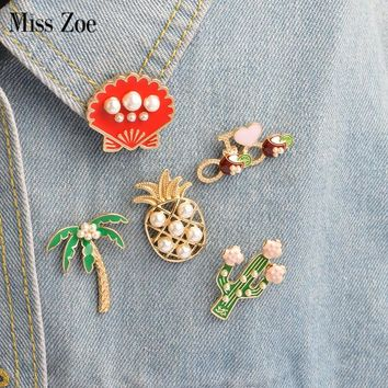 5pcs/set Cartoon Plant Coconut Tree Mexican Cactus Shell Pineapple Pearl Brooch Button Pins Denim Jacket Pin Badge Gift Jewelry