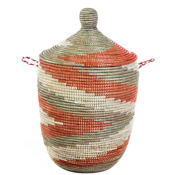 Medium African Basket with Lid - Red Arrow