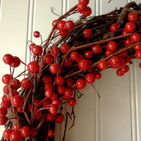 Red berry wreath for christmas. christmas wreath,christmas decor. red wreath. front door wreath.