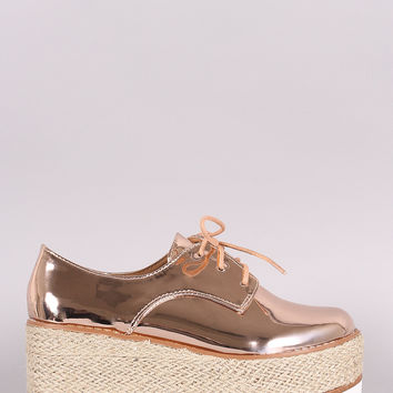 Patent Lace Up Espadrille Oxford Flatform Wedge