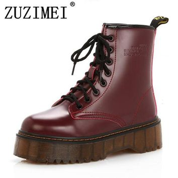 High Quality Platform Autumn and Winter Add Cotton Warm Motorcycle Boots Martin Boots Women's Punk Ankle Boots Size 35-40