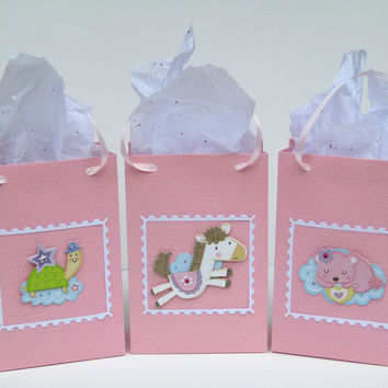 12 Pink & Purple Baby Shower Favor Bag - Polka Dot Embossed-Candy Bags-Goody Bags-Little Princess-1st Birthday Favor Bags-Unique Baby Shower