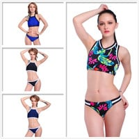 POLOVI Hot Printed Younth Swimwear Womens Biquini Beachwear Swimsuit Bathing Suit Sexy Halter High Neck Bikini Set SJ16004