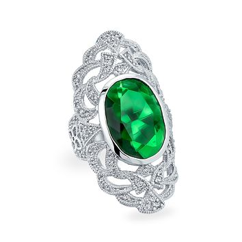Green Armor Full Finger Ring Simulated Emerald CZ Silver Plated Brass