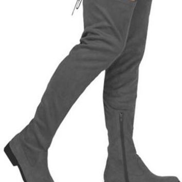 Charcoal Suede Over the Knee Boot