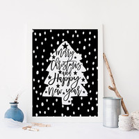 PRINTABLE Art,Merry Christmas And Happy New Year,Christmas Quote,Christmas Print,Christmas Tree,Happy New year,Typography,Quote Wall Art