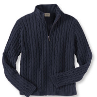 Double L Cotton Sweater, Zip-Front Cable Cardigan: Cardigans | Free Shipping at L.L.Bean