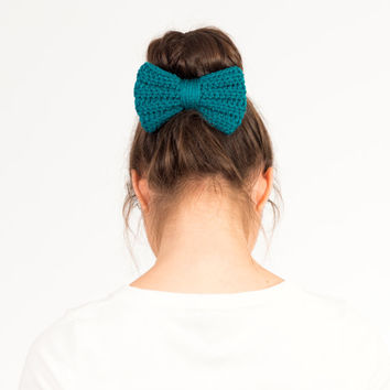 Teal Blue Crochet Bow Hair Band, Ponytail Holder, Hair Elastic, Handmade Crocheted, Women's, Teens, Girls Knit Accessory, Knitted Bun Wrap