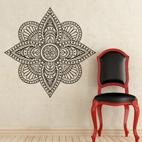 Mandala Wall Decal Vinyl Sticker Decals Lotus Flower Yoga Namaste Indian Ornament Moroccan Pattern Om Home Decor Bedroom Art Design Interior NS297