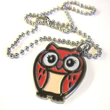 Hot Pink Owl Necklace Large Ball Chain Enamel Pendant Hoot Bird Girly Valentines Day Purple