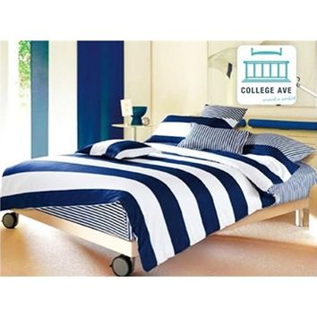 Sail Away Cotton Twin XL Comforter Set - College Ave - 100 Percent Cotton Dorm Bedding College Comforter Twin XL Bedding Nautical Bedding Blue Bedding White Bedding Striped Bedding