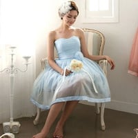 Powder Blue Strapless Vintage Style Bridesmaid Dress Semi Formal Dress | BM104