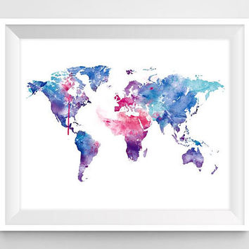 World Map Art Watercolor World Map Print Wall Art Wanderlust Home Decor Map Poster Painting Travel Abstract Blue Map Gift Download