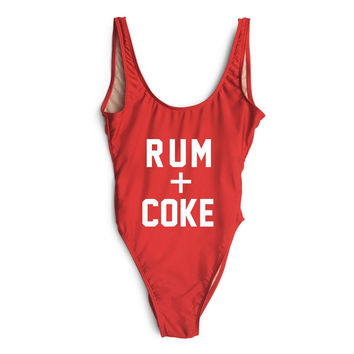 Rum+Coke Letter Print One Piece Swimsuit Sexy Thong Swimwear Women Bikinis 2016 High Waist Bodysuit Monokini