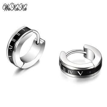 Fashion Roman numerals Stainless Steel Men Earrings 2018 Round Punk Stud Earring For Boy Men Jewelry Gifts