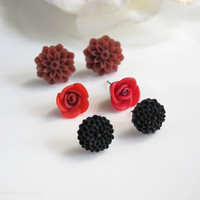 Flower Ear Studs. Autumn Inspired Brown Mums, Red Roses, Mini Black Japanese mums. Three Pairs Flower earring studs. Ear accessories
