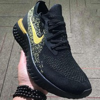 NIKE Epic React Flyknit Tide Brand Fashion Comfortable Shock Absorbing Sneakers F-CSXY black+gold