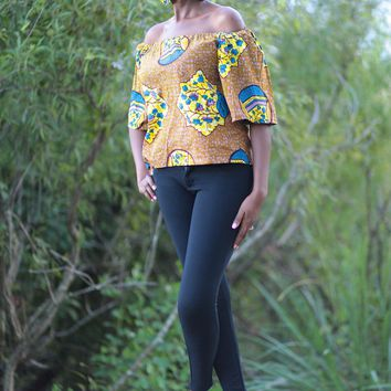 African Print Raha Off Shoulder Top - Brown/Yellow/Royal Blue Floral Print.