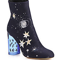 Valentino - Space-Embroidered Satin Booties - Saks Fifth Avenue Mobile