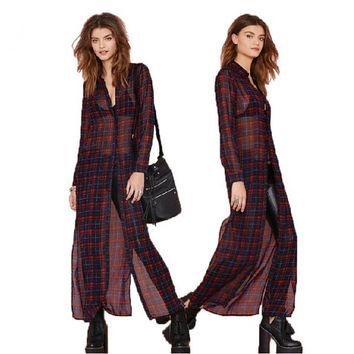 Dress Vintage Plaid Chiffon Red Long Sleeve One Piece Dress = 5825591041