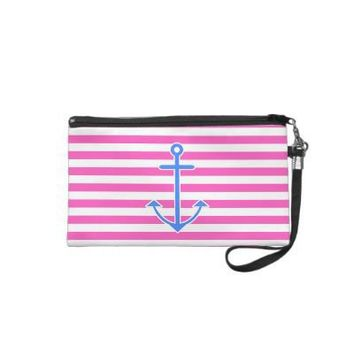 Pink Nautical Blue Anchor Wristlets from Zazzle.com