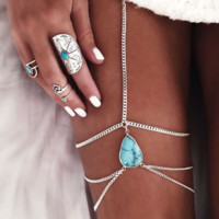 Retro Vintage Boho Joias Antique Silver Turquoise Leg Chains Multilayer Sexy Thigh Body Chain