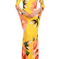 Large Floral Print Boat Neck Fitted Mermaid Style Maxi Dress D5580F-7519