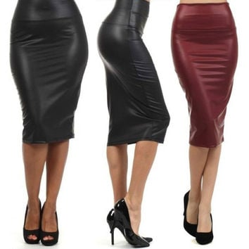 High Waist Faux Leather Pencil Skirt