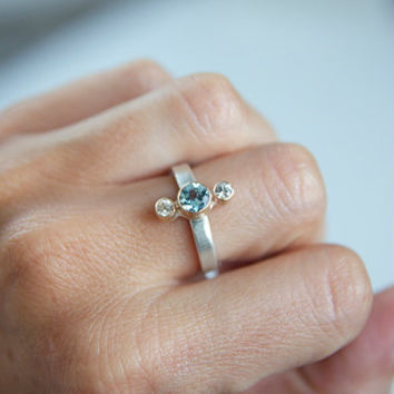 $254.00 Aquamarine and White Sapphire 3 Stone Ring in by erinjanedesigns