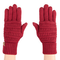 LE3NO Womens Winter Knitted Touchscreen Compatible Tech Gloves (CLEARANCE)